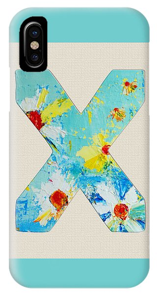 Letter X Roman Alphabet - A Floral Expression, Typography Art IPhone Case