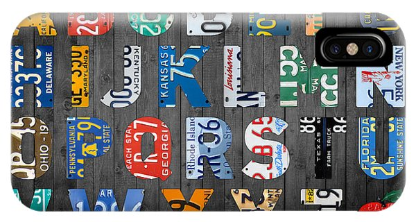 Classroom iPhone Case - Letters Of The Alphabet Recycled Vintage License Plate Art With Apple Colorful School Nursery Kids Room Print by Design Turnpike