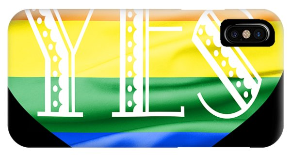 Gay Pride Flag iPhone Case - Lgbt Heart With A Big Fat Yes by Semmick Photo