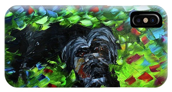 IPhone Case featuring the painting lhasa Apso by Kevin Brown