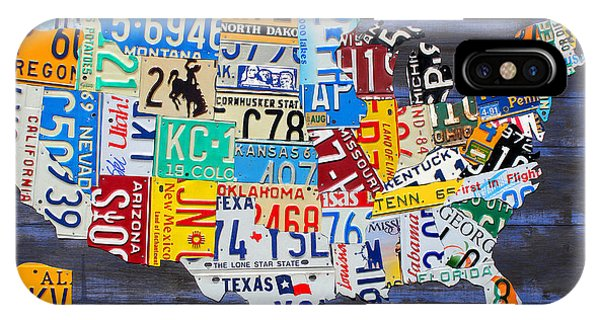 License iPhone Case - License Plate Map Of The Usa On Blue Wood Boards by Design Turnpike