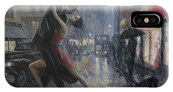Tango iPhone Case - Life Is A Dance In The Rain by Adrian Borda