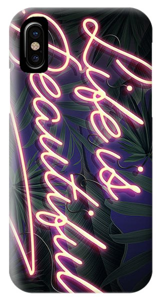 Neon iPhone Case - Life Is Beautiful by Canvas Cultures