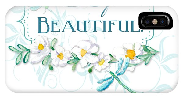 Simple iPhone Case - Life Is Beautiful - Dragonflies N Daisies W Leaf Swirls N Dots by Audrey Jeanne Roberts
