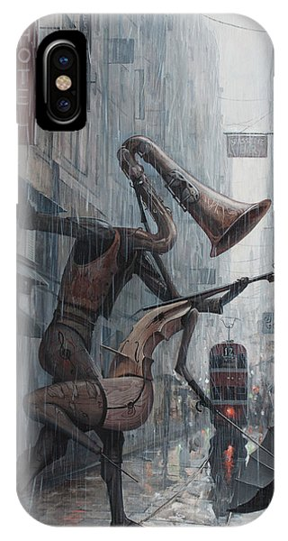 Violin iPhone Case - Life Is  Dance In The Rain by Adrian Borda