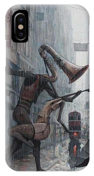 Saxophone iPhone X Case - Life Is  Dance In The Rain by Adrian Borda