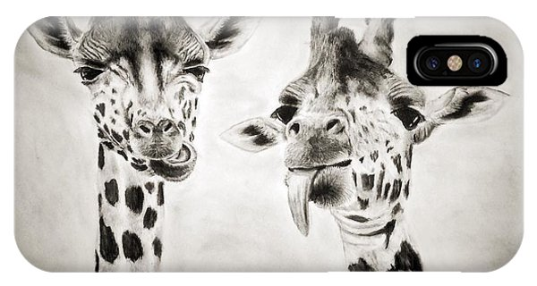 Giraffe iPhone Case - Life Is Good by Benjamin Gassmann