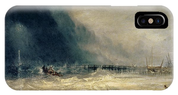 Ocean Breeze iPhone Case - Lifeboat And Manby Apparatus Going Off To A Stranded Vessel Making Signal Of Distress by Joseph Mallord William Turner