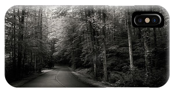 Light And Shadow On A Mountain Road In Black And White IPhone Case
