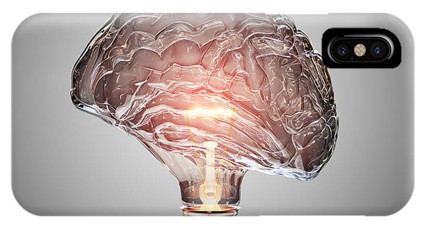 Brain iPhone Case - Light Bulb Brain by Johan Swanepoel
