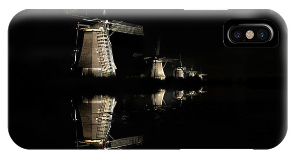 IPhone Case featuring the photograph Lighted Windmills In The Black Night by IPics Photography