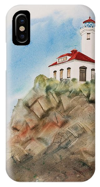 Port Townsend iPhone Case - Lighthouse At Point Wilson by Carole Dawes