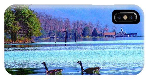 Lighthouse Geese, Smith Mountain Lake IPhone Case