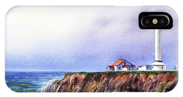 Lighthouse Wall Decor iPhone Case - Lighthouse On The Cliff Watercolor by Irina Sztukowski