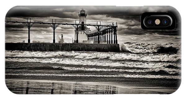 Lighthouse Reflections In Black And White IPhone Case