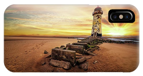 Navigation iPhone Case - Lighthouse Sunset Wales by Adrian Evans