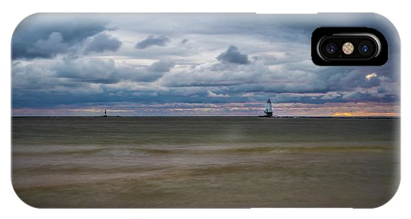 Lighthouse Under Brewing Clouds IPhone Case