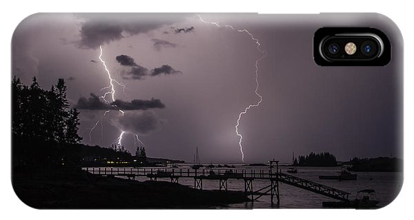 Lightning Over Boothbay Harbor IPhone Case