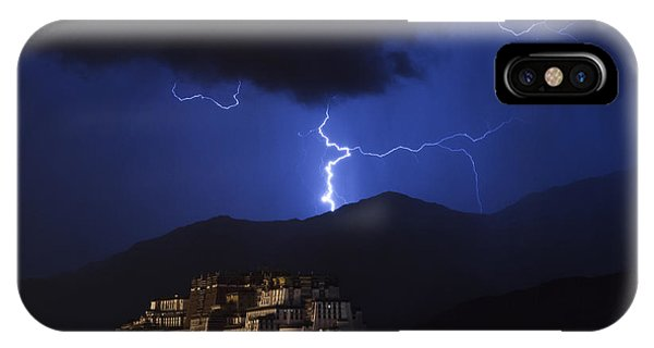 IPhone Case featuring the photograph Lightning Over Potala Palace, Lhasa, 2007 by Hitendra SINKAR