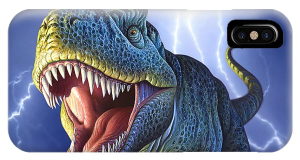 Dinosaur iPhone Case - Lightning Rex by Jerry LoFaro