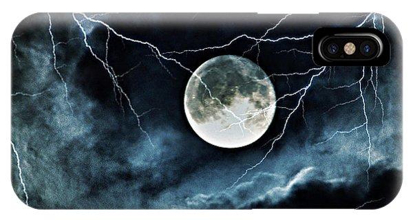 Lightning Sky At Full Moon IPhone Case