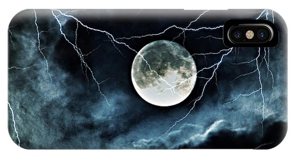 Lightning Sky At Full Moon IPhone Case