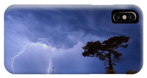Lightning Storm On A Lonely Country Road IPhone Case