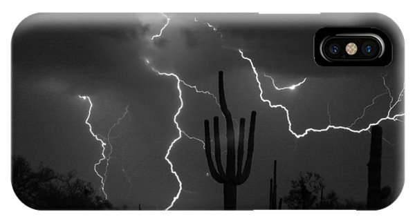Lightning Storm Saguaro Fine Art Bw Photography IPhone Case