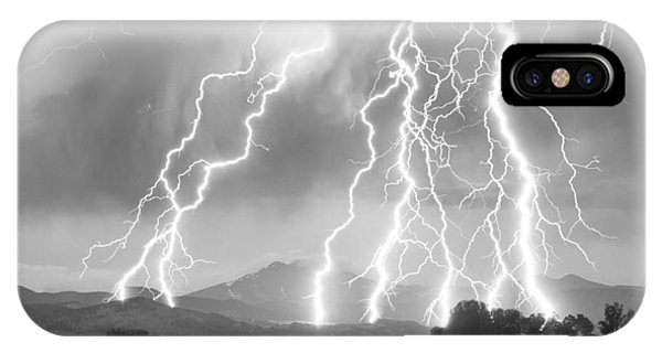 Lightning Striking Longs Peak Foothills 4cbw IPhone Case