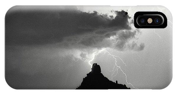 Lightning Striking Pinnacle Peak Arizona IPhone Case