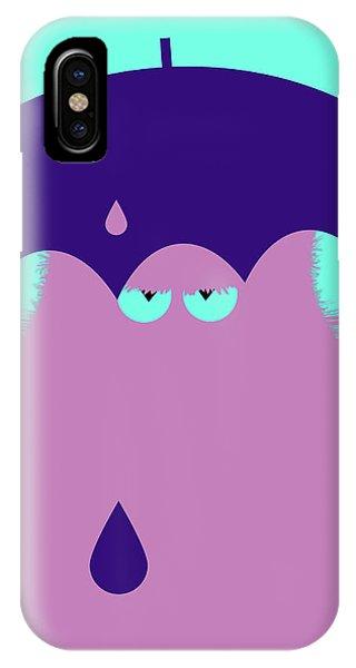 Purple Rain iPhone Case - Lilac Cat With Umbrella by Zaira Dzhaubaeva
