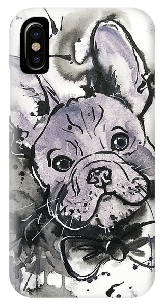 IPhone Case featuring the painting Lilac Frenchie by Zaira Dzhaubaeva