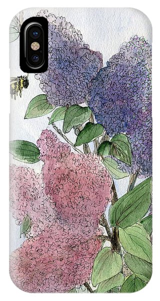 Lilacs And Bees IPhone Case