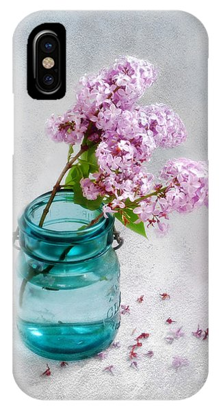 Lilacs In A Glass Jar Still Life IPhone Case
