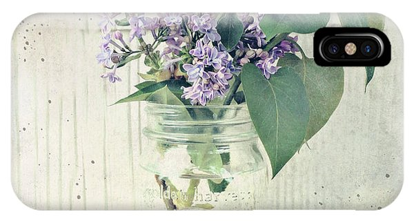 IPhone Case featuring the photograph Lilacs In Old Jar by Anna Louise