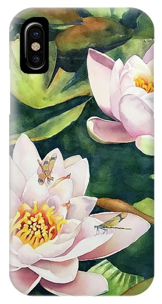 Lilies And Dragonflies IPhone Case