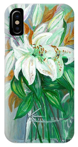 Lilies In A Glass Vase - Painting IPhone Case