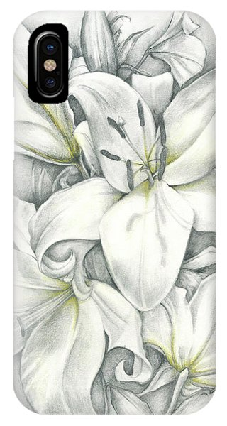 IPhone Case featuring the drawing Lilies Pencil by Melinda Blackman