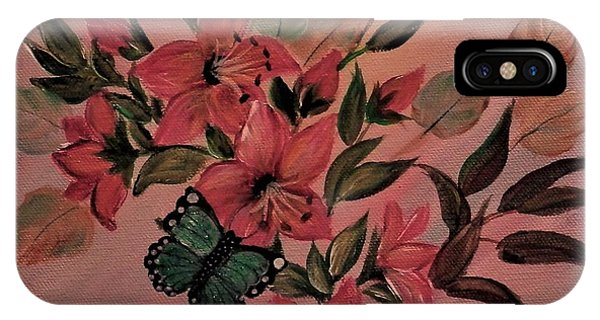 Lilies With Butterflies IPhone Case