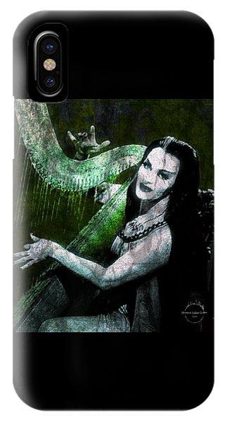 Harp iPhone Case - Lily Munster Gothic Harp by Absinthe Art By Michelle LeAnn Scott