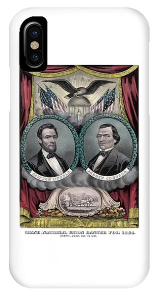 Lincoln And Johnson Election Banner 1864 IPhone Case