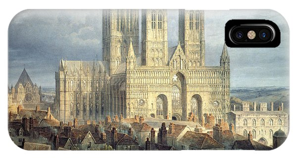 English Village iPhone Case - Lincoln Cathedral From The North West by Frederick Mackenzie