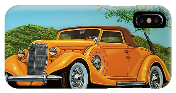 Oldtimer iPhone Case - Lincoln K Convertible 1935 Painting by Paul Meijering