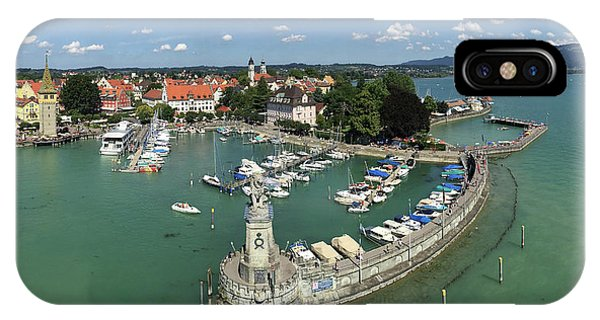 Germany iPhone Case - Lindau Bodensee Germany Harbor Panorama by Matthias Hauser