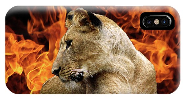 Lion And Fire IPhone Case
