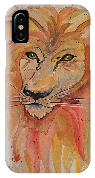 IPhone Case featuring the painting Lion by Denise Tomasura