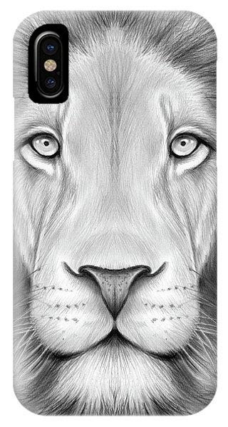 King iPhone Case - Lion Head by Greg Joens