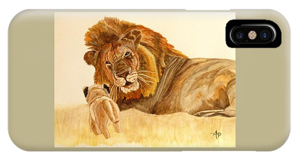 IPhone Case featuring the painting Lion Watercolor by Angeles M Pomata