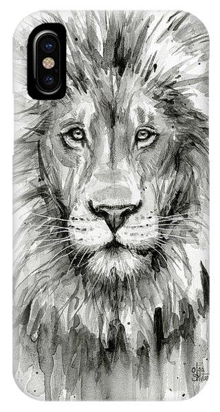 Jungle iPhone Case - Lion Watercolor  by Olga Shvartsur