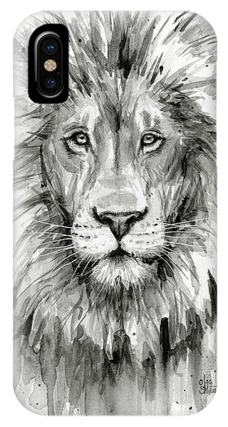 Safari iPhone Case - Lion Watercolor  by Olga Shvartsur